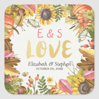Autumn Fall Maple Leaves Pumpkin Wedding Thank You Square Sticker