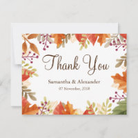 Autumn Fall Maple Leaves Thank You Card