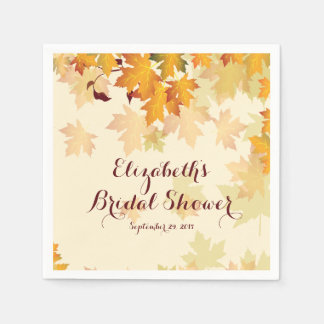 Autumn Fall Maple Leaves Wedding Bridal Shower Standard Cocktail Napkin