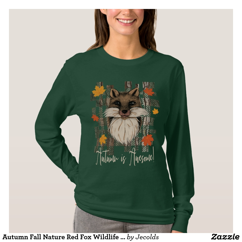 Autumn Fall Nature Red Fox Wildlife Animal Women's T-Shirt - Best Selling Long-Sleeve Street Fashion Shirt Designs