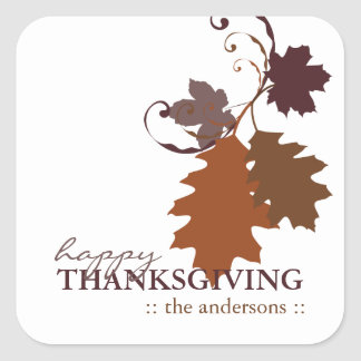 Autumn Fall Oak Leaves Thanksgiving Sticker