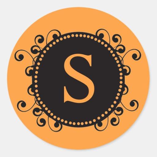 Autumn Fall Orange Monogram S Wedding Sticker