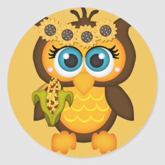 Autumn, Fall Owl with Sunflowers Classic Round Sticker