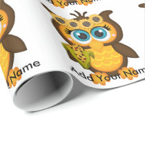 Autumn, Fall Owl with Sunflowers Wrapping Paper