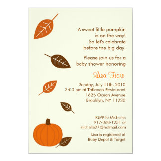 Autumn Fall Pumpkin Baby Shower Invitations