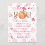 "Autumn Fall Pumpkin Birthday Thank You Card<br><div class=""desc"">Pink and orange Autumn Fall Pumpkin Birthday Thank You Card</div>"