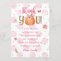 Autumn Fall Pumpkin Birthday Thank You Card