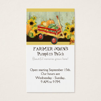 Autumn Fall Pumpkin Patch Harvest Farm Businesses Business Card