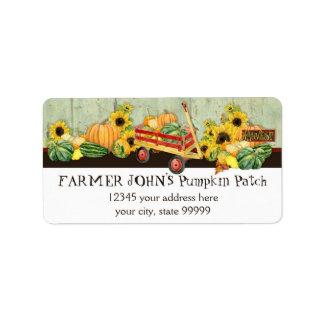 Autumn Fall Pumpkin Patch Harvest Farm Businesses Label
