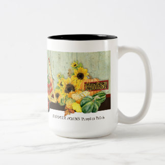Autumn Fall Pumpkin Patch Harvest Farm Businesses Two-Tone Coffee Mug