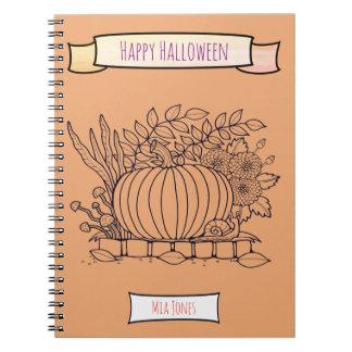 Autumn Fall Pumpkin Snail Floral Notebook