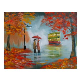 Autumn fall rainy day red umbrella romantic couple posters