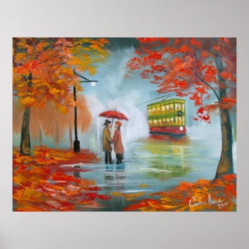 Autumn fall rainy day red umbrella romantic couple poster