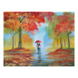 Autumn fall rainy day romantic walk couple poster