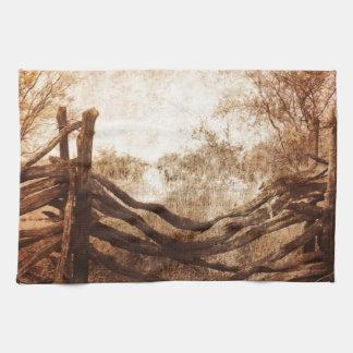 Autumn Fall rural landscape Rustic Farm Fence Towel