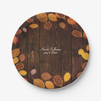 Autumn Fall Rustic Golden Leaves on Wood Wedding Paper Plate