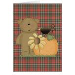 autumn fall teddy bear cutie card