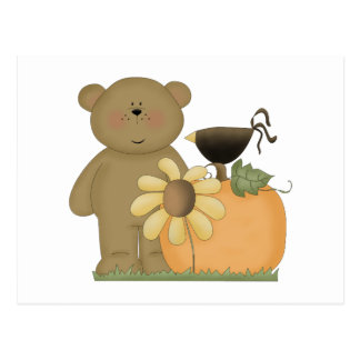 autumn fall teddy bear cutie postcard