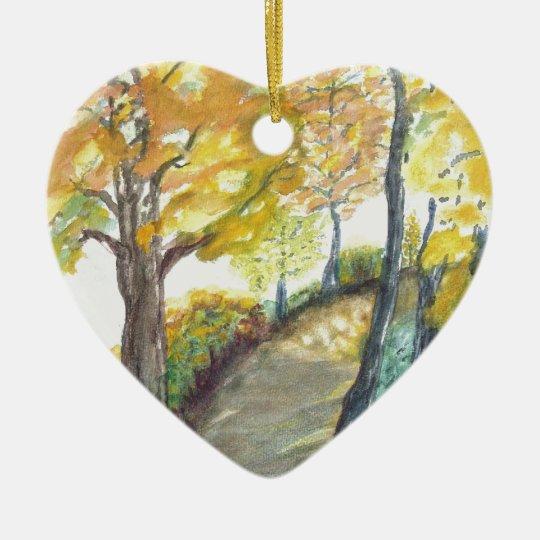 Autumn Fall Tree Leaves Art Painting Destiny Ceramic Ornament