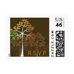 Autumn / Fall Trees on Brown Custom RSVP Stamps
