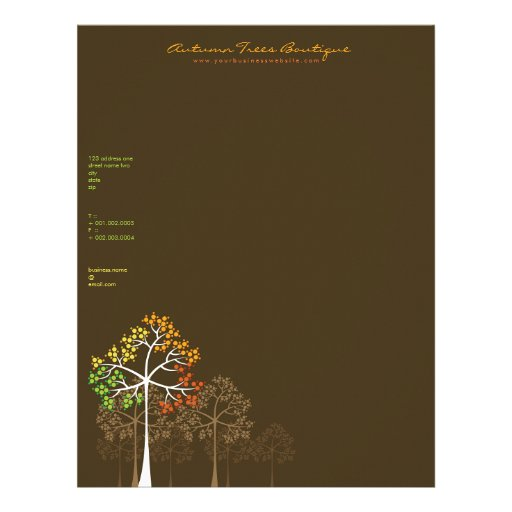 autumn    fall trees template business letterhead