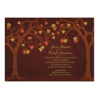 "Autumn / Fall Trees Wedding Invitation 5"" X 7"" Invitation Card"