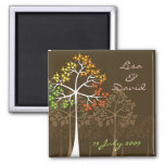 Autumn Fall Trees Woodland Wedding Save The Date 2 Inch Square Magnet