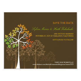 Autumn Fall Trees Woodland Wedding Save The Date 4.25x5.5 Paper Invitation Card