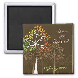 Autumn Fall Trees Woodland Wedding Save The Date Magnets
