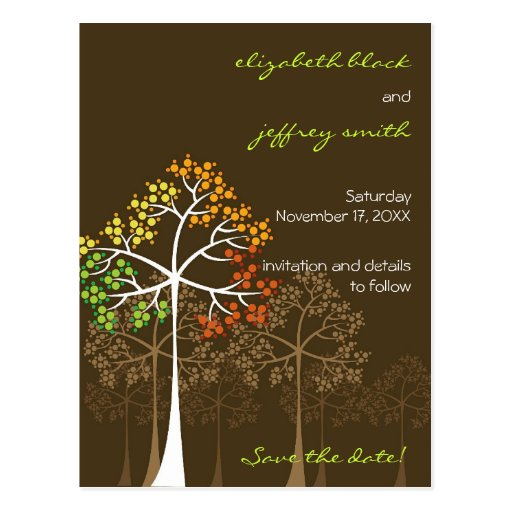 Autumn Fall Trees Woodland Wedding Save The Date Postcards