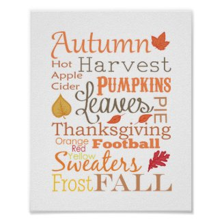 Autumn Fall Typography Wall Art