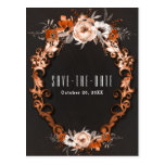 Autumn Fall Wedding Orange Floral Save the Date Postcard