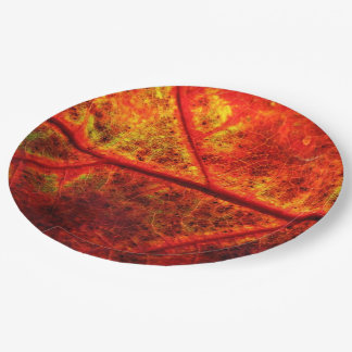 Autumn Fall Wedding Rustic Leaf Photo Close Up Paper Plate