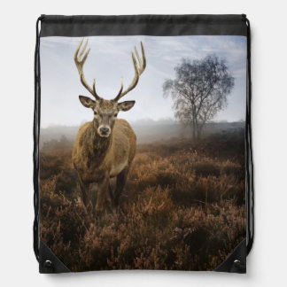 Autumn Fall with beautiful red deer stag Drawstring Backpack