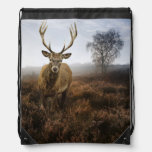 Autumn Fall with beautiful red deer stag Drawstring Bags