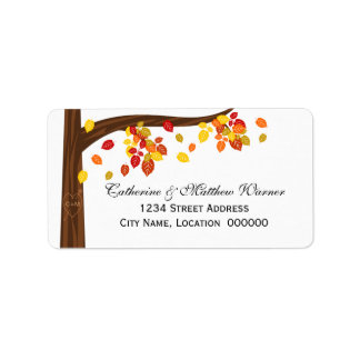 Autumn Falling Leaves Address Labels