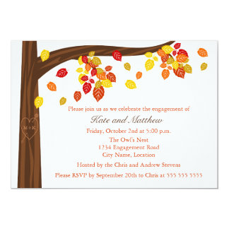 "Autumn Falling Leaves Engagement Party Invitation 5"" X 7"" Invitation Card"