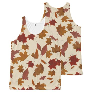 Halloween Themed Autumn Falling Leaves on Custom Cream All-Over-Print Tank Top