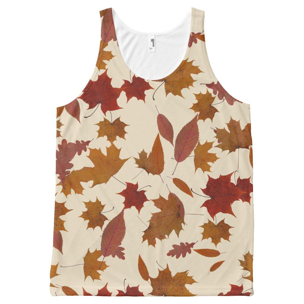 Autumn Falling Leaves on Custom Cream
