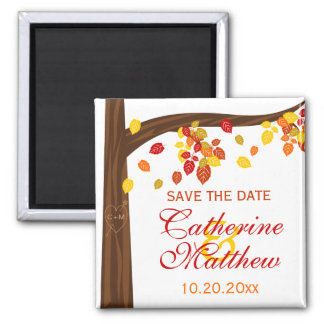 Autumn Falling Leaves Save The Date Magnet