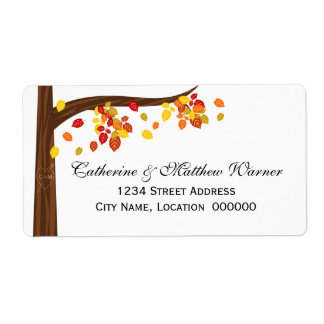 Autumn Falling Leaves Shipping Labels