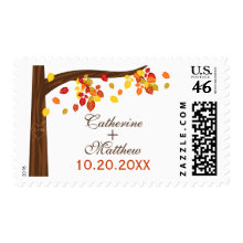 Autumn Falling Leaves Wedding Stamp