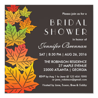 Autumn Falling Maple Leaf Wedding Invitation Grey