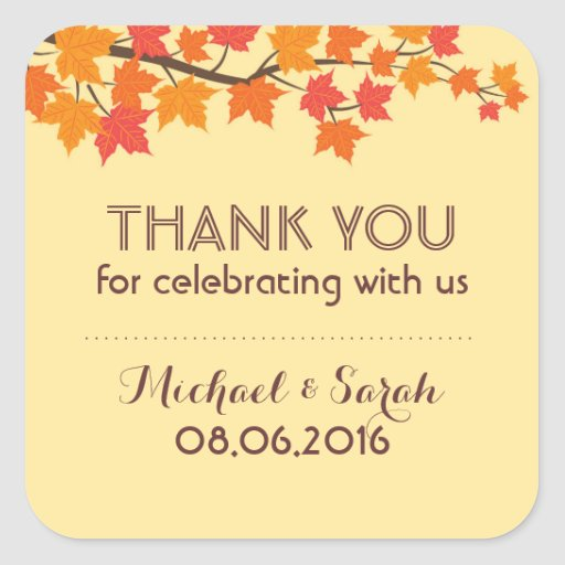 Autumn Falling Maple Leaves Thank You Sticker Stickers