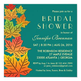 Autumn Falling Maple Leaves Wedding Invitation