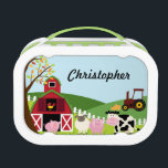 """Autumn farm animals personalized yubo lunchbox<br><div class=""""desc"""">This Yubo lunchbox has a cute fall farm scene with a barn,  a rooster,  pig,  sheep,  cow,  and a red tractor.  You can easily personalize the name at the top!  Graphics by BabyStar Design at MyGrafico.com</div>"""
