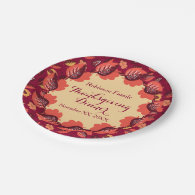 Autumn Feast Thanksgiving Dinner Add Your Text 7 Inch Paper Plate