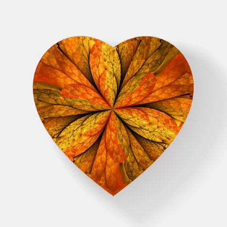 Autumn Feeling, Abstract Fractal Flower Heart Paperweight