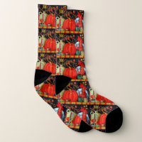 Autumn Festive Antique Painting Pumpkin Decoration Socks