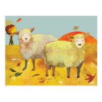 Autumn Field Sheep Postcard